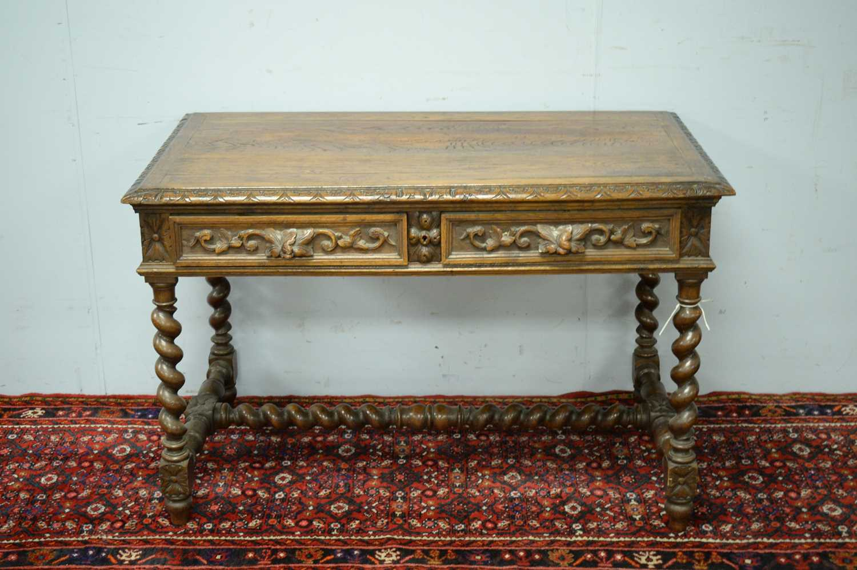 Victorian oak writing desk. - Image 2 of 7