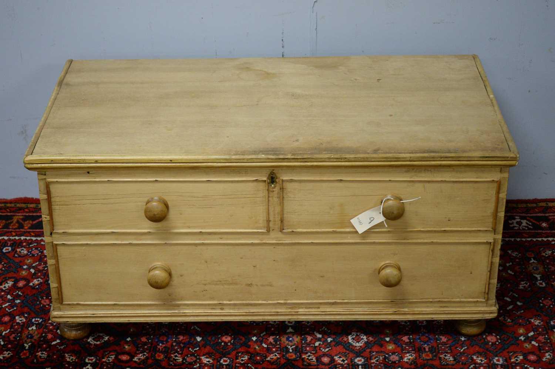 20th C stripped pine blanket box.