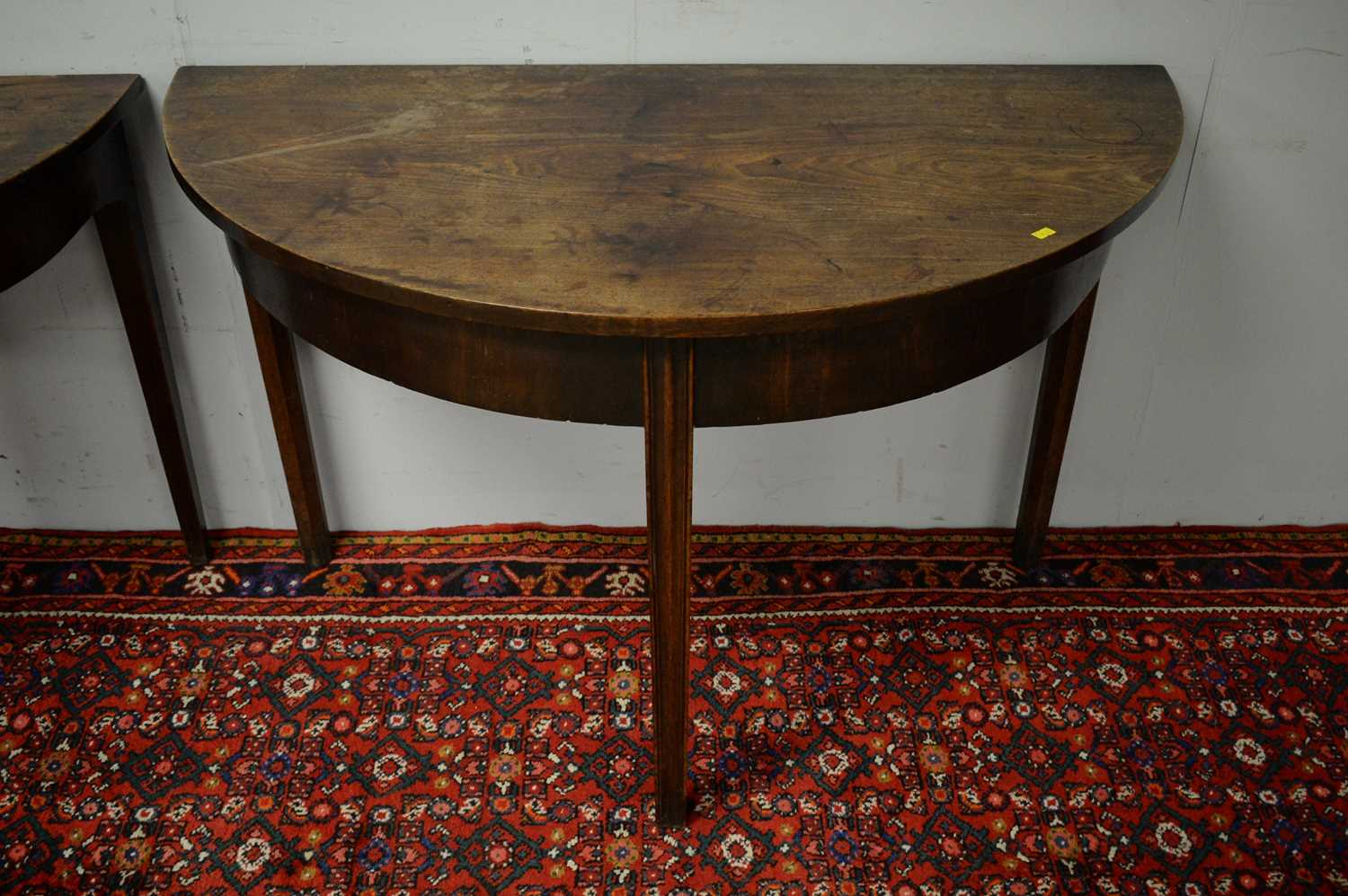 Two 19th C mahogany demi lune side tables. - Image 4 of 5