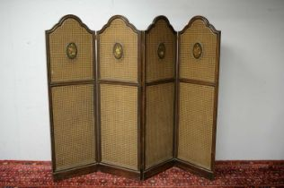 Late Victorian three-fold oak dressing screen.