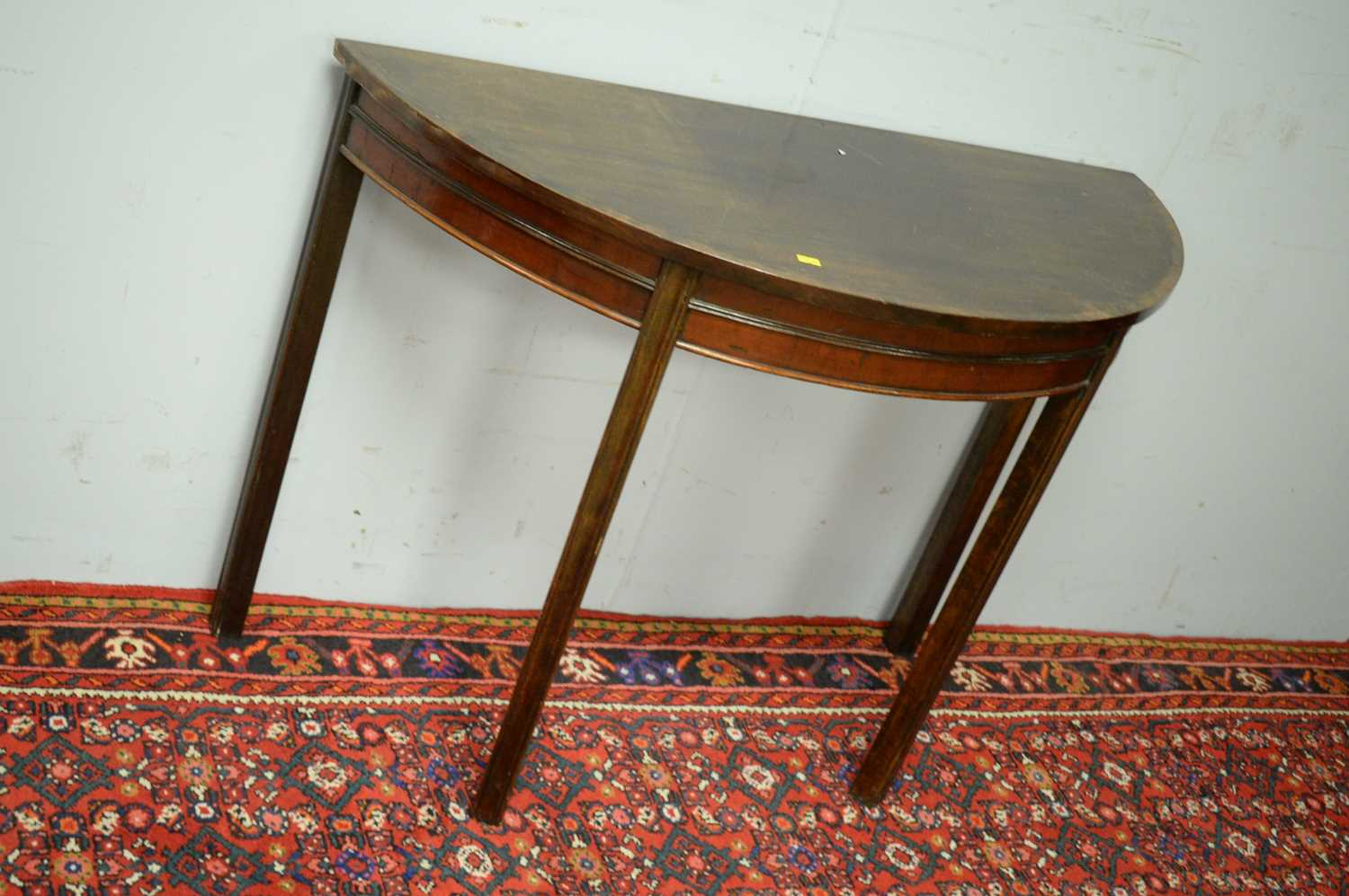 19th C mahogany demi lune side table. - Image 3 of 3