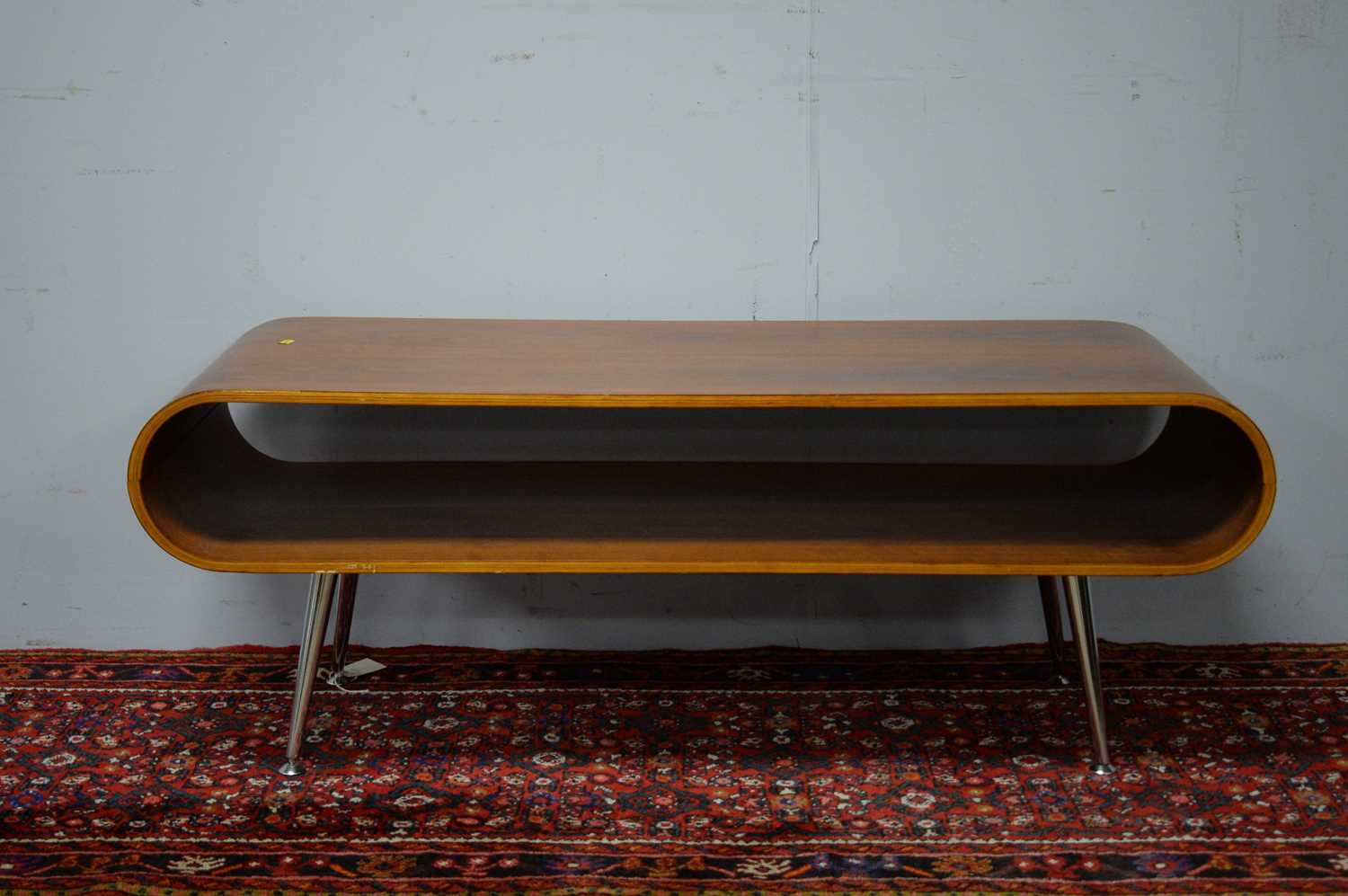Late 20th C simulated rosewood TV stand.