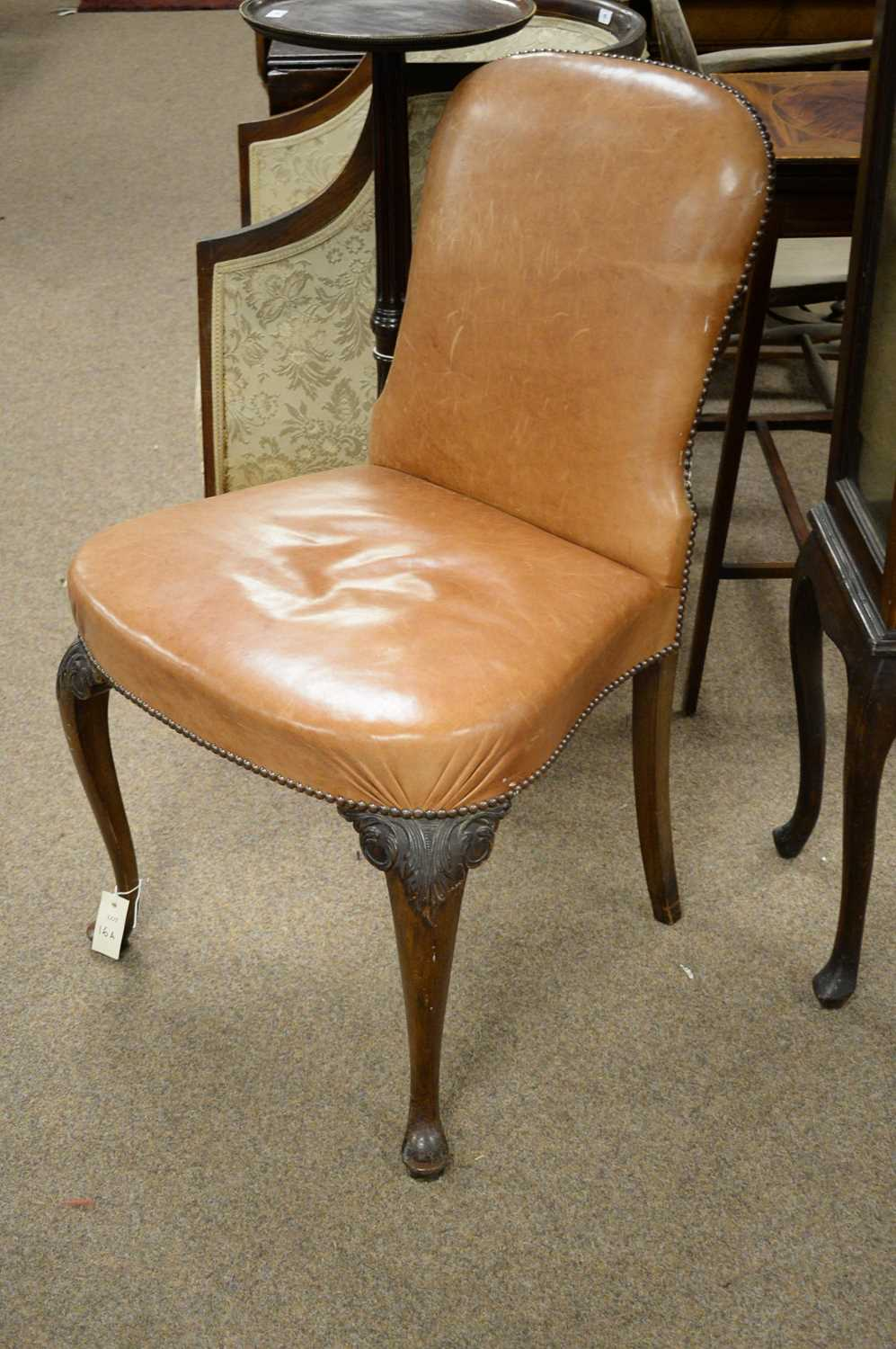19th Century mahogany and leather dining chair - Image 3 of 3
