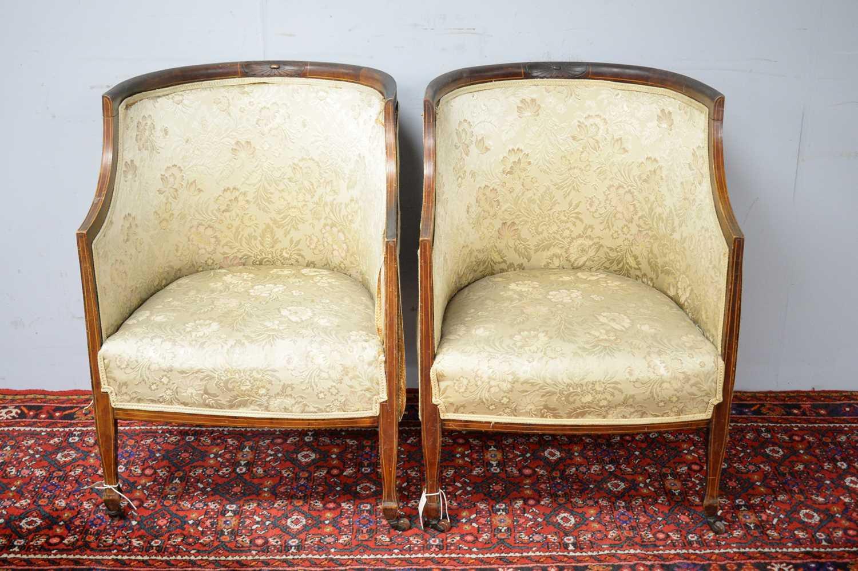 Pair of Edwardian mahogany chairs. - Image 2 of 5