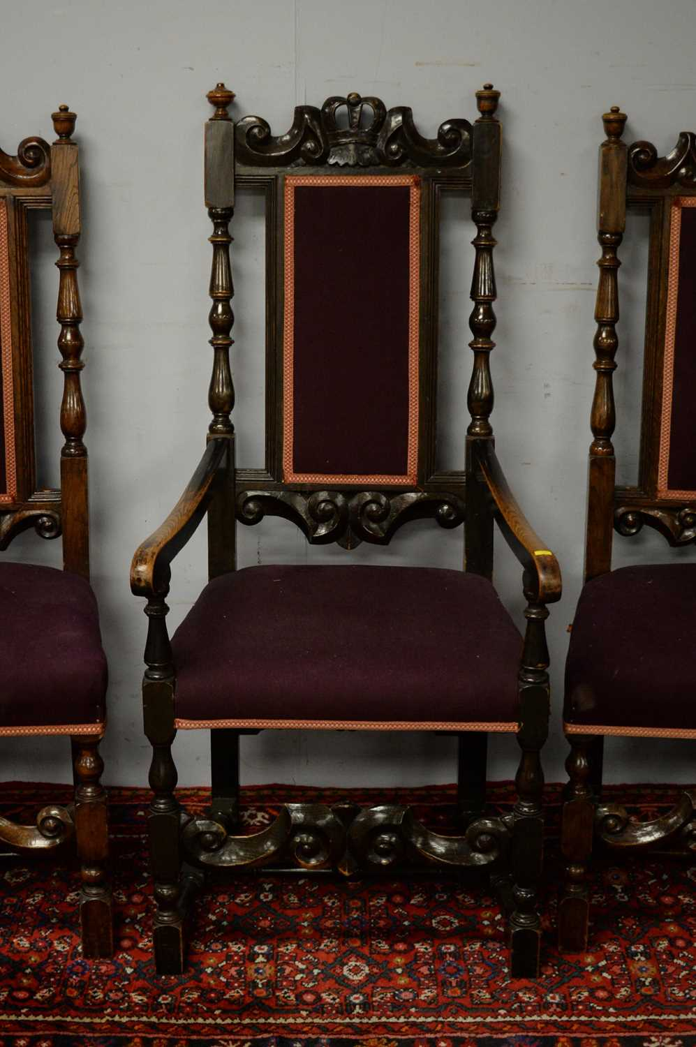 Set of seven 19th C oak dining chairs. - Image 3 of 5