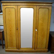 Early 20th Century oak three door wardrobe
