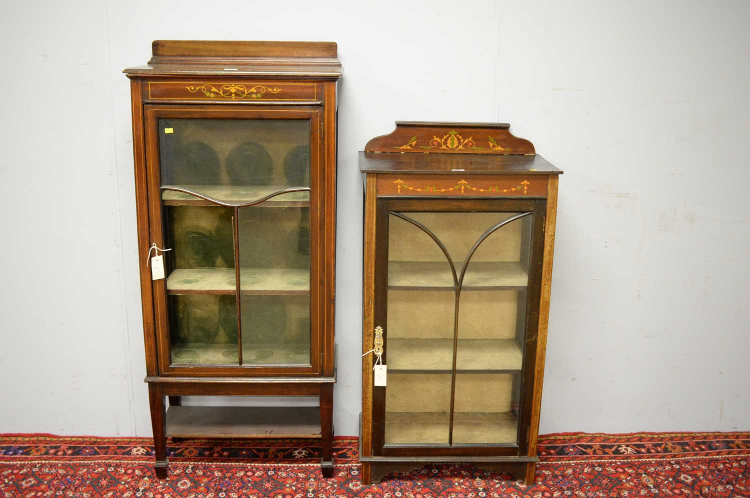 Two early 20th C display cabinets.