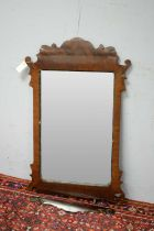 Geo. III style mahogany wall mirror.