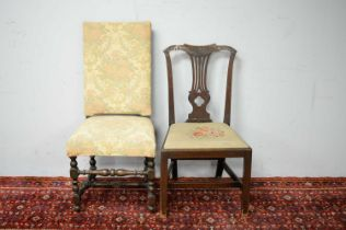 19th C dining chair; and a 19th C high back chair.