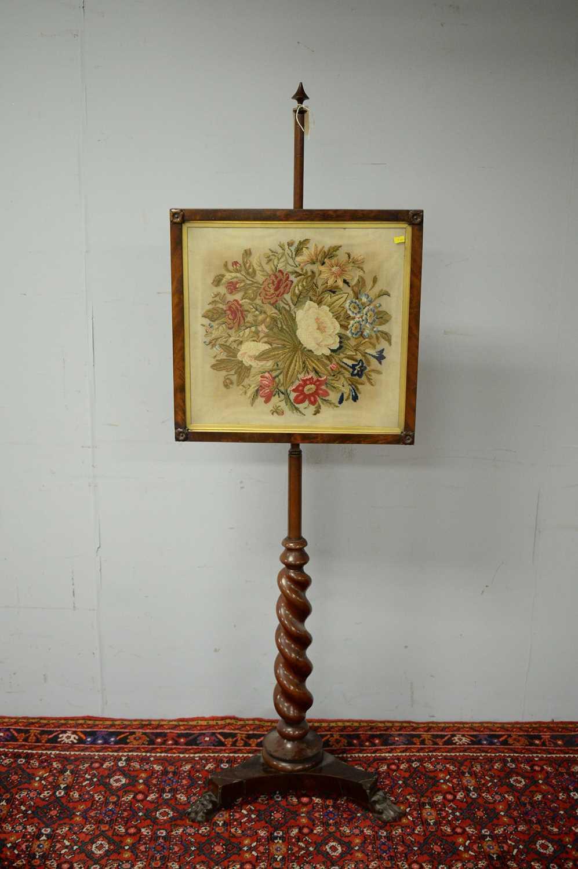 Victorian mahogany pole screen. - Image 2 of 5