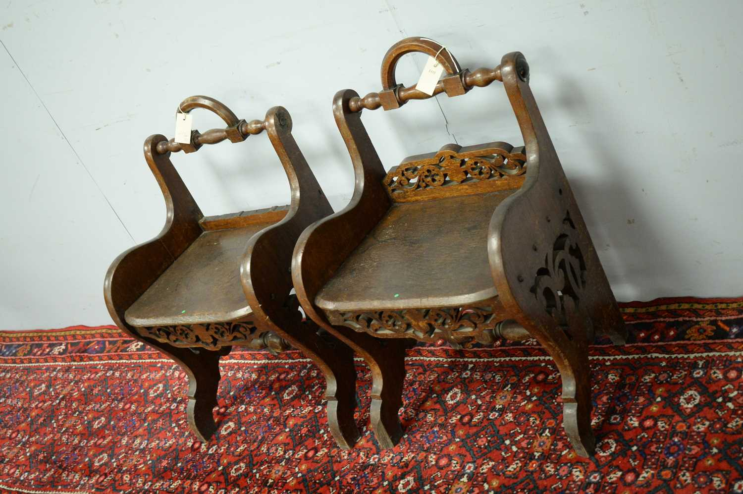 A pair of 19th Century oak hall chairs - Image 3 of 5