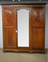 Edwardian three door wardrobe