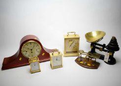 Weighing Scales, weights and pan; four clocks; and pair of postal scales.