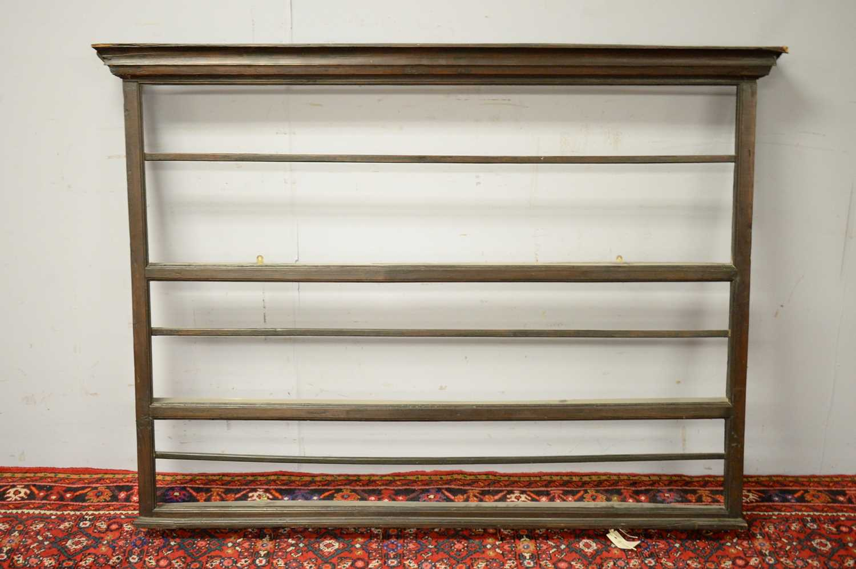 Set of 19th C oak hanging shelves.