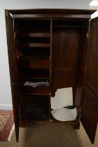 19th C mahogany two-door wardrobe.