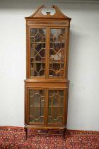 Edwardian mahogany corner cabinet.
