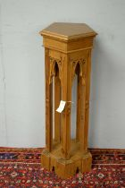 20th C gold-painted Gothic revival style jardiniere stand.
