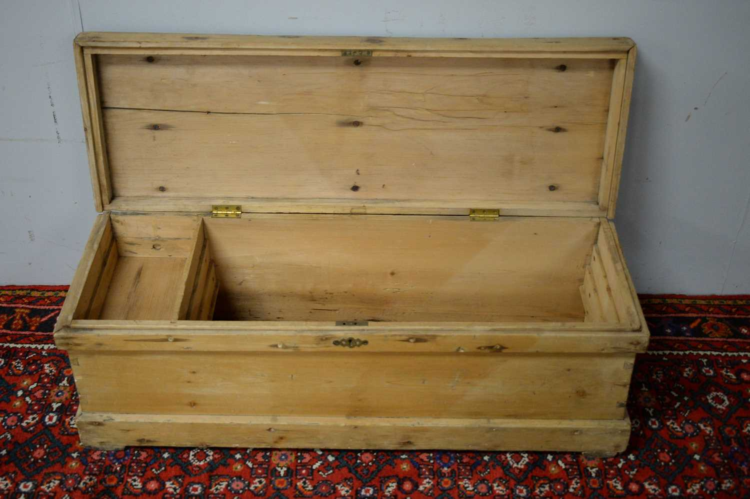 Early 20th C pine chest. - Image 3 of 5