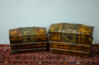 Pair of 20th C repro domed chests.