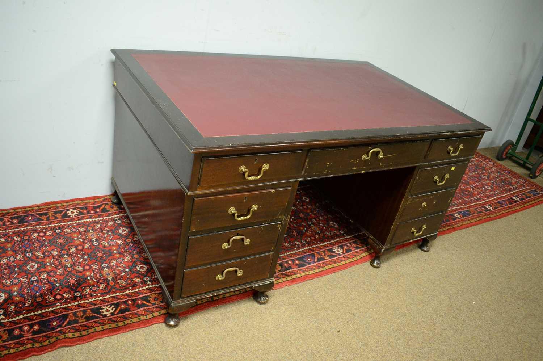 Edwardian mahogany desk. - Image 3 of 7
