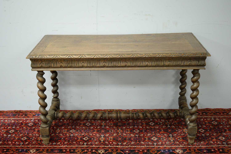 A Victorian oak side table