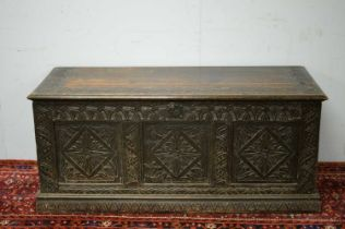 An 18th Century and later oak blanket box