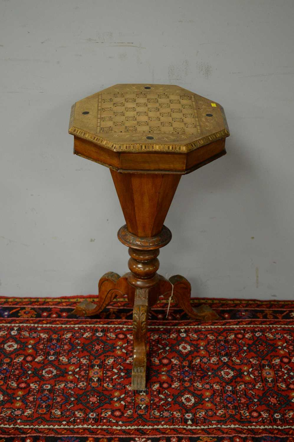 Victorian walnut work table. - Image 2 of 5