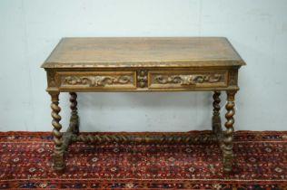 Victorian oak writing desk.
