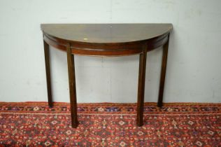19th C mahogany demi lune side table.