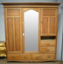 20th C walnut two-door wardrobe.