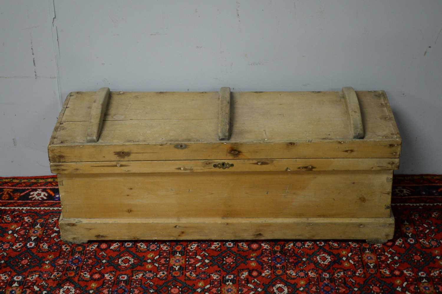 Early 20th C pine chest. - Image 2 of 5