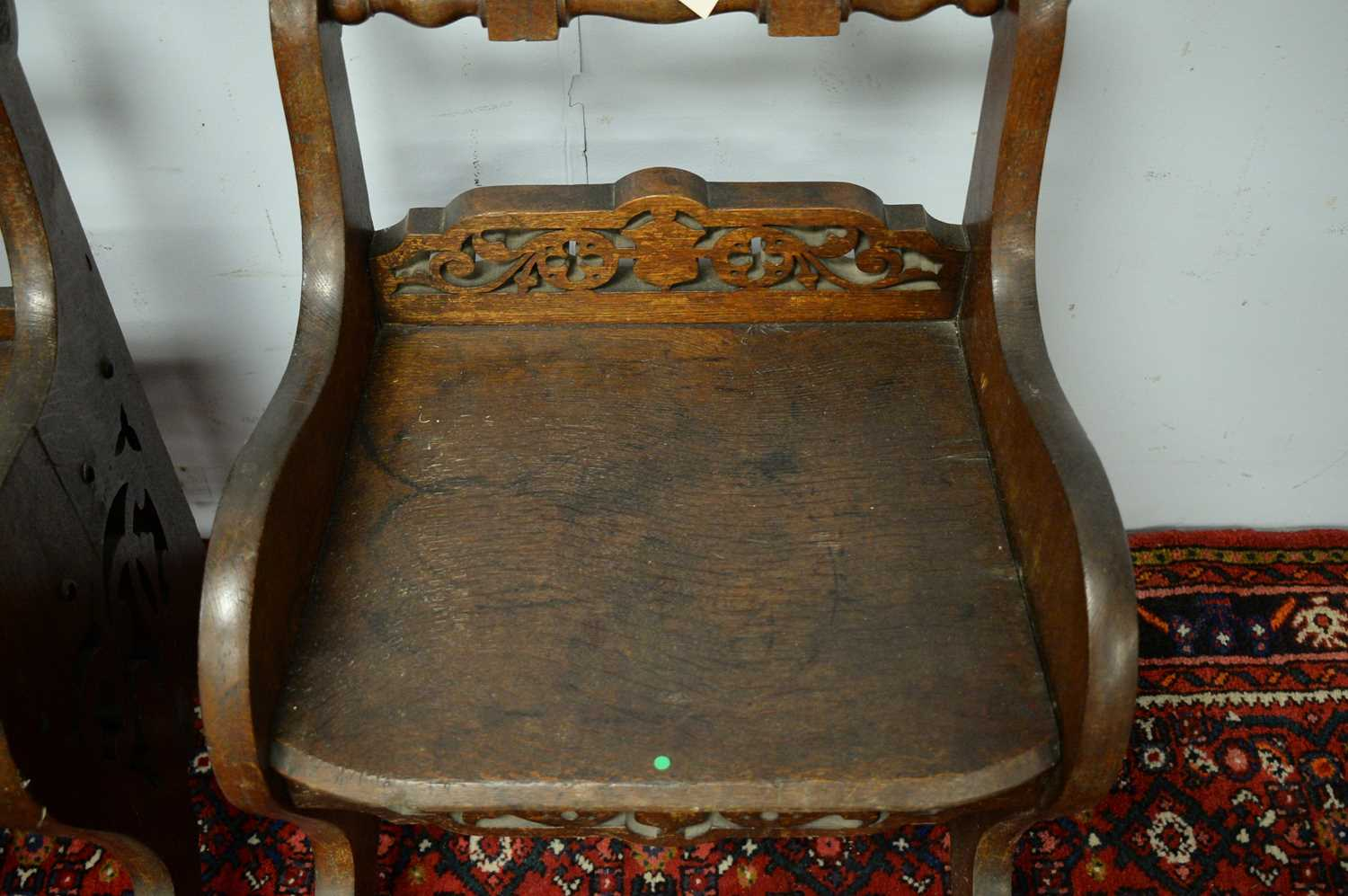 A pair of 19th Century oak hall chairs - Image 4 of 5