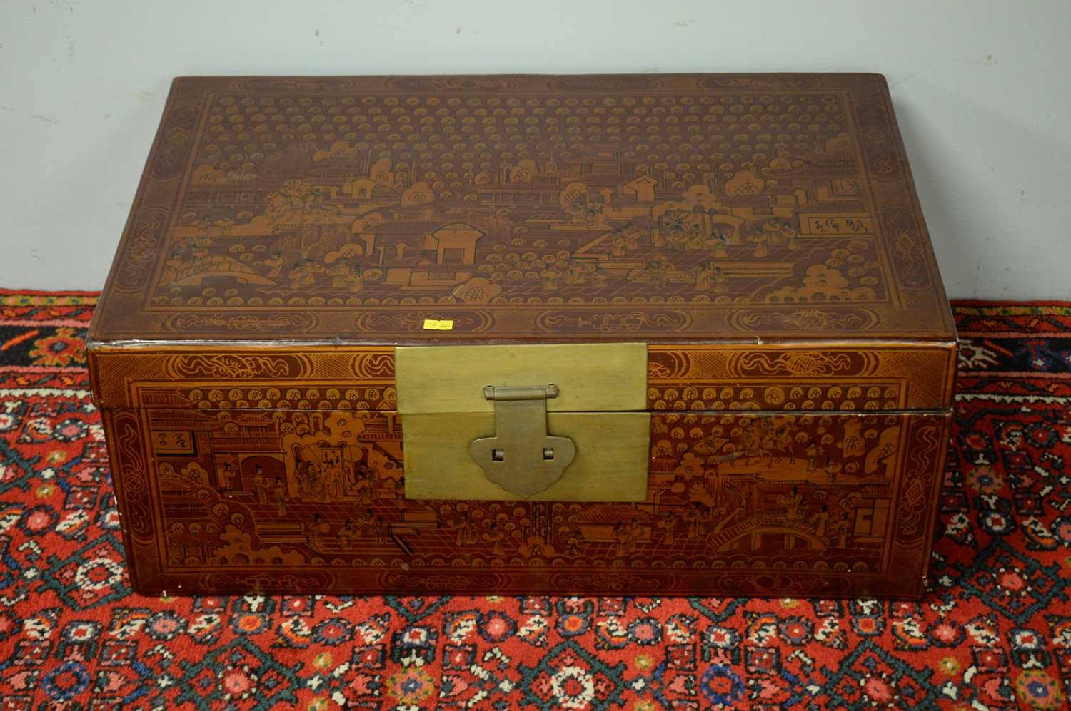 20th Century red lacquered Chinese chest. - Image 2 of 5