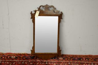 20th C George III style mahogany fret carved wall mirror.