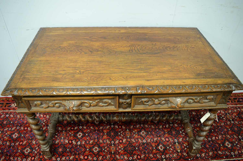 Victorian oak writing desk. - Image 4 of 7
