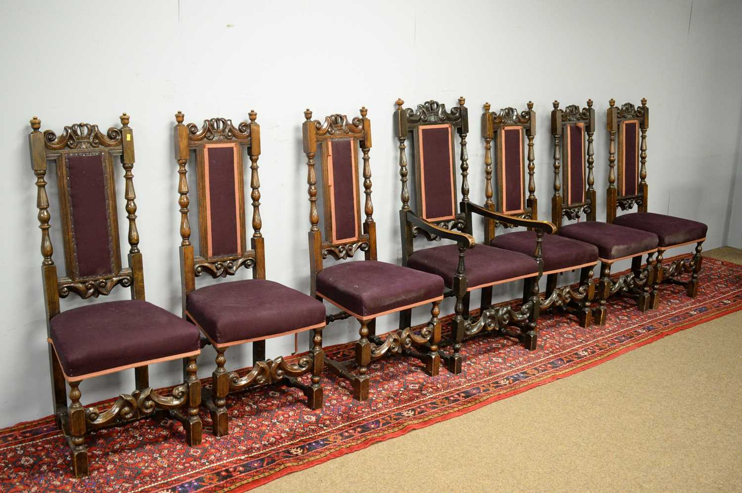 Set of seven 19th C oak dining chairs. - Image 4 of 5