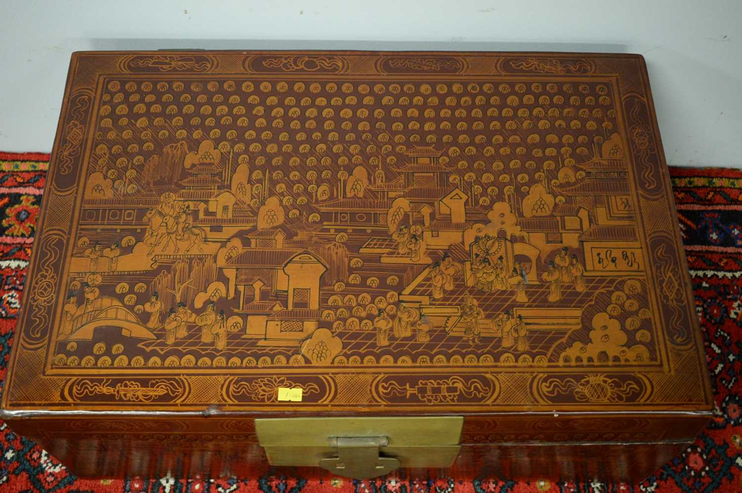 20th Century red lacquered Chinese chest. - Image 4 of 5