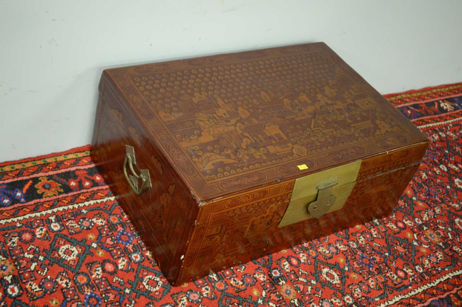 20th Century red lacquered Chinese chest. - Image 3 of 5