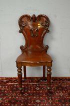 Victorian mahogany hall chair.