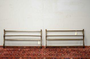 Pair of 20th C Ercol elm hanging shelves.