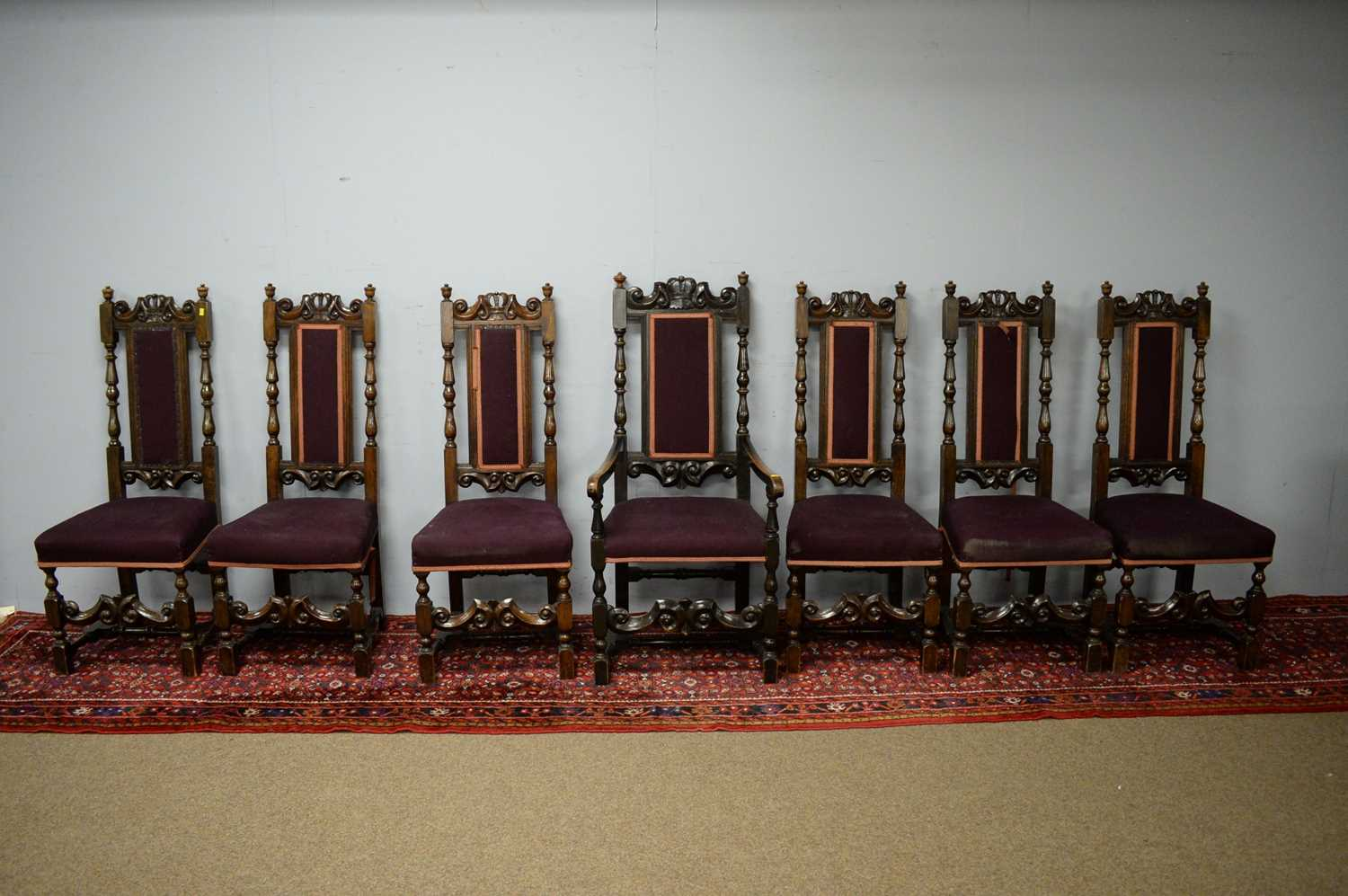 Set of seven 19th C oak dining chairs.