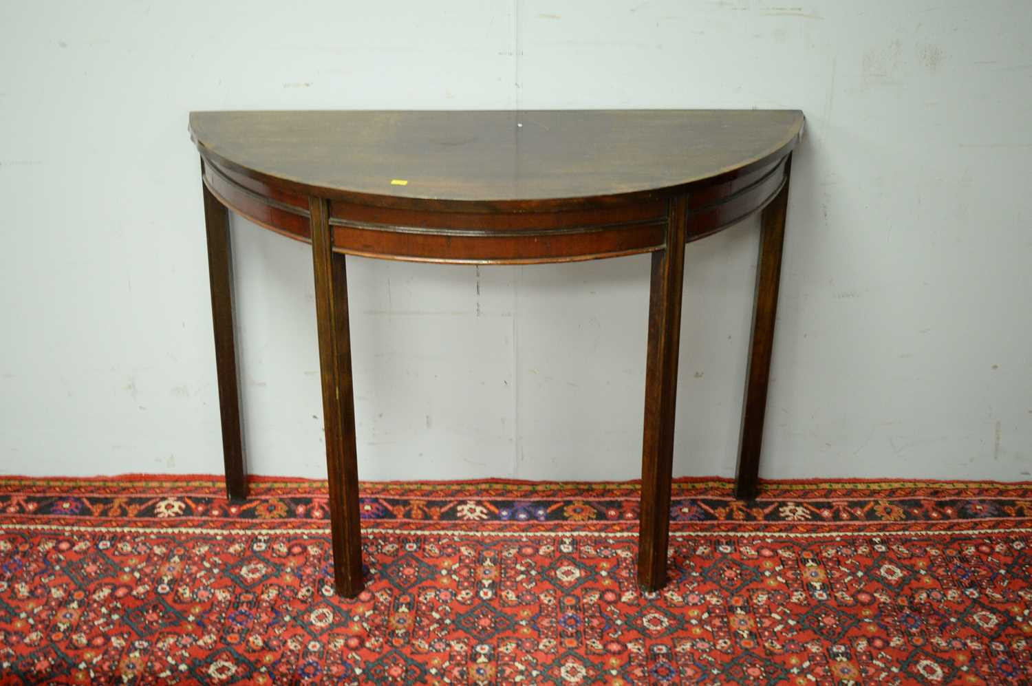 19th C mahogany demi lune side table. - Image 2 of 3