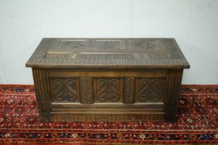 Victorian and later oak coffer.