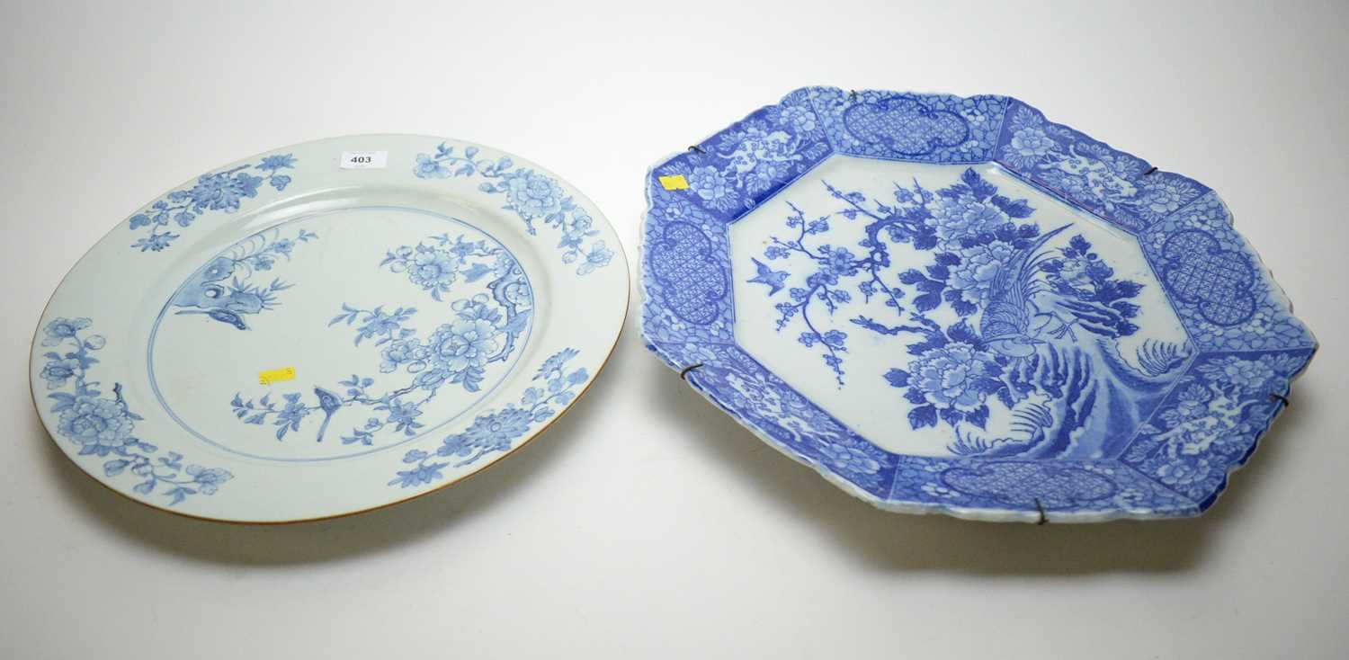 19th C Chinese Export charger; and a Chinese-style plate.