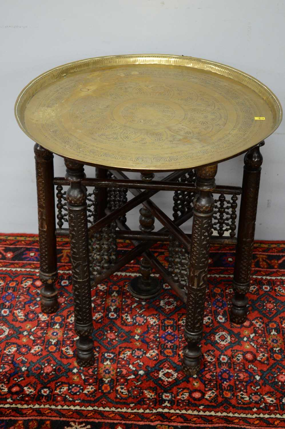 A pair of Islamic brass topped side tables. - Image 3 of 5