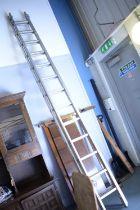 Pair of 20th C Youngman DIY aluminium ladders.