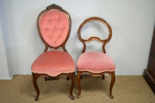 Two Victorian balloon back chairs.