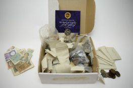 Large selection of British and foreign coinage and bank notes.