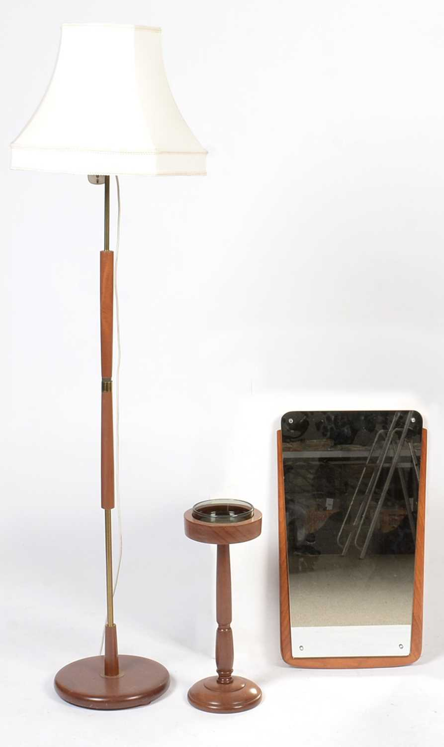Mid-century framed mirror, smoker's stand; and brass-bound lamp standard.