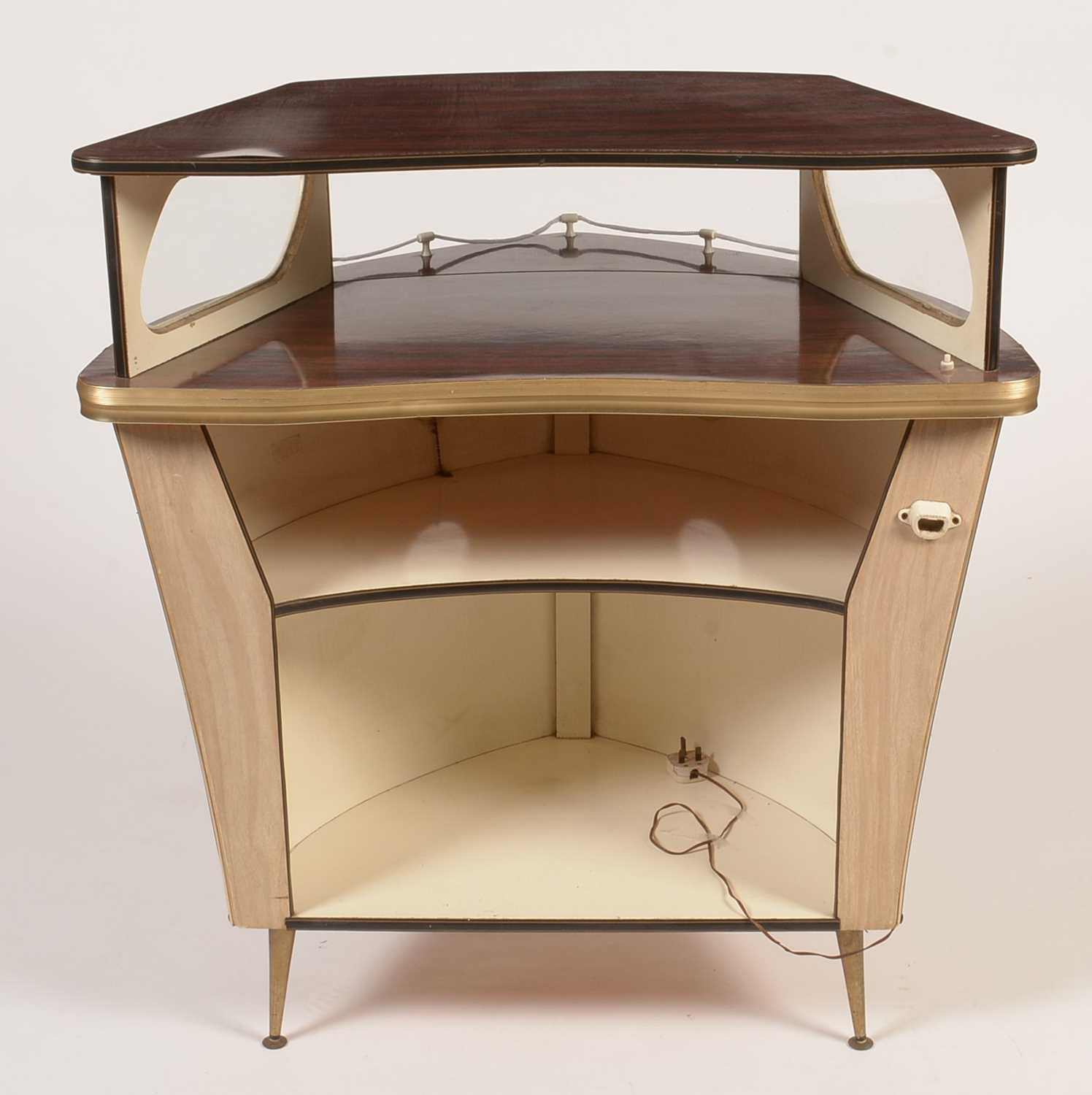 Umberto Mascagni, Bologne, Italy: a mid 20th Century boat form cocktail bar. - Image 5 of 5